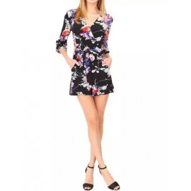 Charming Wrap Trim Elbow Sleeve Playsuit in Slim Fit Size:S-L