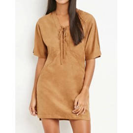 Vintage Style Short Sleeve Slanted Pockets Suede Dress with Lace-up V Neck
