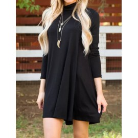 Basic High Neck Asymmetric Hem Dress in Long Sleeve