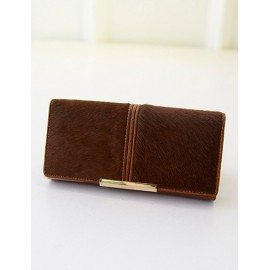 Elegant Horsehair Long Clutch Bag with Metal Bar