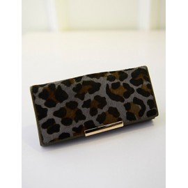 Leopard Printed Clutch Bag With Metal Bar