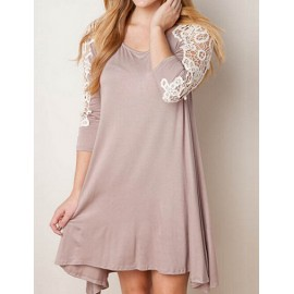 Casual Lace Panel Asymmetric Hem Dress in Round Neck