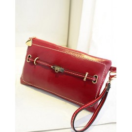 Chic Wrist Strap Clutch with Twist Lock Strap Trim
