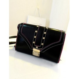 Street Rhinestone Detail Metallic Lock Clutch with Seaming Trim