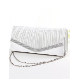 Simplicity Wrinkle Rhinestone Oblong Evening Bag