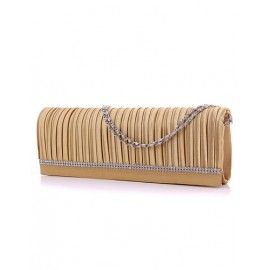Simplicity Wrinkle Rhinestone Embellished Oblong Clutch Bag