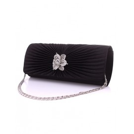 Charming Floral Diamante Wrinkle Evening Bag