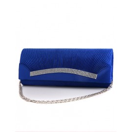 Stylish Mini Wrinkle Oblong Clutch with Chain Shoulder