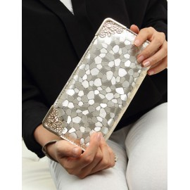 Voguish Metallic Decorated Stone Pattern Rectangle Clutch Bag