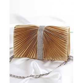 Cute Diamante Decorated Wrinkle Clutch Bag