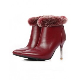 Noble Point Toe Zippr Stiletto Shoes in Fur Trim Size:34-39