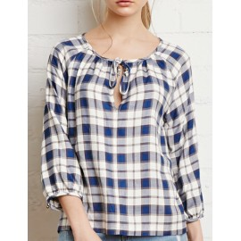 Refreshing Checked 3/4 Sleeve Top in Round Neck Size:S-L
