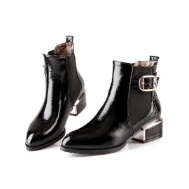 England Chunky Heel Point-Toe Ankle Boots in Color Block Size:34-39