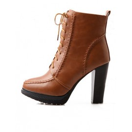 Unique Point-Toe Chunky Heel Matin Boots in Platform Size:34-39