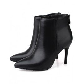 Gorgeous Basic Zipper Stiletto Ankle Boots in Point Toe Size:34-39