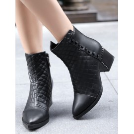Unique Rivet Point-Toe Ankle Boots in Chunky Heel Size:34-40