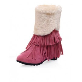 Preppy Tassel Elevator Wedge Snow Boots in Round Toe Size:34-39