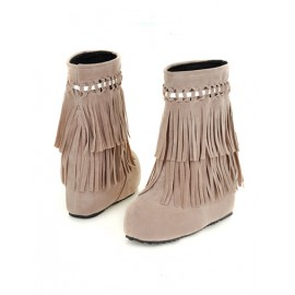 Korean Tassel Platform Ankle Snow Boots in Wedge Heel Size:34-39