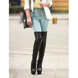 Sexy Platform Heel Over The Knee Boots in Faux Leather Size:34-39