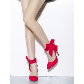 Gorgeous Bold Bowknot Design Pointy Toe Heels in Pure Color Size:35-41