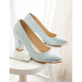 Chic Metal Round Toe Chunky Heel Shoes in Marble Pattern Size:34-39