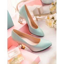Romantic Diamante Chunky Heel Shoes in Point Toe Size:34-39