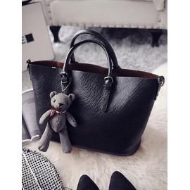 Concise Bear Ornament Tote Bag with Attached Inner Bag