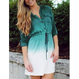 Leisure Ombre Color Patch Pocket Shirt Dress with Tabbed Sleeve