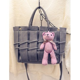 Cute Panel Design Tote Bag with Bear Ornament