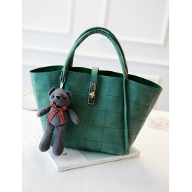 Twist Lock Strap Checked Pattern Tote Bag with Bear Ornament