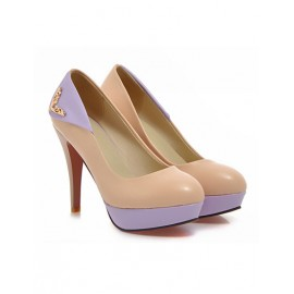 Seductive Metal Embellished Platform Heels in Color Block Size:34-39