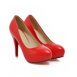 Seductive Round Toe Platform Heels in Pure Color Size:34-39
