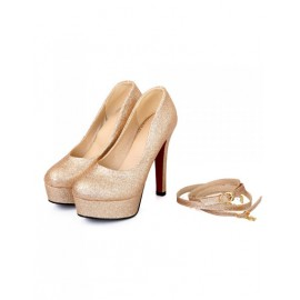 Gorgeous Platform Glittering Stiletto Heels in Round Toe Size:34-39
