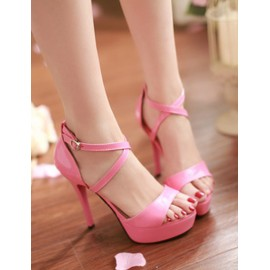 Vibrant Cross Buckle Platform Heel Sandals in Pure Color Size:34-39