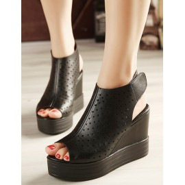 Vogue Mock-Strap Hollow-Out Peep-Toe Ankle Boots in Pure Color Size:34-39