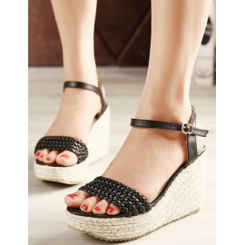 Bohemian Maryjane Weave Trim Wedge Sandals in Pure Color Size:34-39