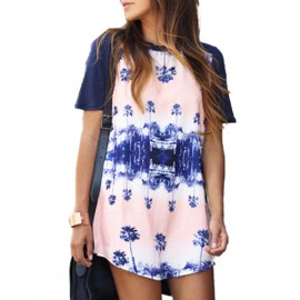 Relaxed Tree Printed Mirror Image Dress with Short Sleeve