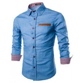 Casual Washed Denim Shirt with Checked Panel