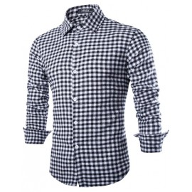 Skinny Shirt in Check with Long Sleeve
