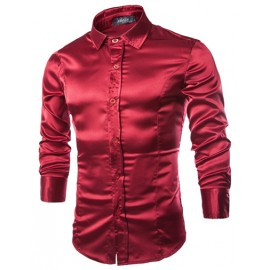Casual Silky-Like Long Sleeve Shirt in Slim Fit