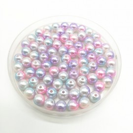 8mm Rainbow Color Round Beads ABS Imitation Pearl Beads