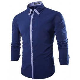 Long Sleeve Slim Fit Shirt with Contrast Placket