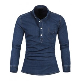 Chic Slim Fit Stand Collar Long Sleeve Denim Shirt