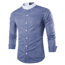 Gentle Stand Collar Plaid Print Slim Fit Shirt