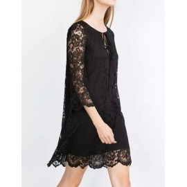 Romantic Drawstring Neckline Flare Sleeve A-Line Lace Dress