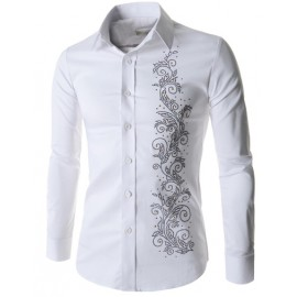 Stylish Fold-Over Collar Shirt with Rivet Floral Trim