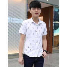 Vogue Bowler Hat Printed Short Sleeve Pointed Collar Shirt