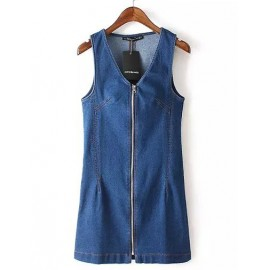 Preppy Deep V-Neck Zipper Front Sleeveless Dress in Slim Fit