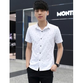 Tiny Star Pattern Short Sleeve Pointed Collar Shirt