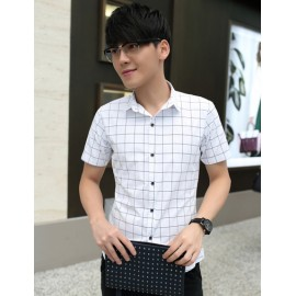 Trendy Plaids Pattern Short Sleeve Pointed Collar Shirt